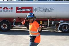 """Here's Jesse, a Cheal operator, enjoying the winter sunshine as TAG tankers """"fill'er up."""""""
