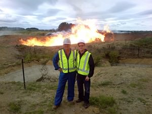 "Lead engineer Jack Doyle and CEO Garth Johnson, in front of the Cheal-C2 discovery well. This important step-out well in TAG's C-block discovery area flow tested ~14 million cubic feet per day (~2,333 BOE/day) on a 48/64"" choke, with associated condensate production increasing during testing. Located about 3.5 km's NW of TAG's Cheal-B5 well, it significantly extends the known oil-and-gas saturation area within TAG's Cheal permit. The success of Cheal-C2 also adds another high-impact target to TAG's prospect portfolio in the Mt. Messenger and Urenui formations."
