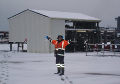 Cheal oil and gas field production station with The first ever snow on-site Cheal oil and gas field production station.