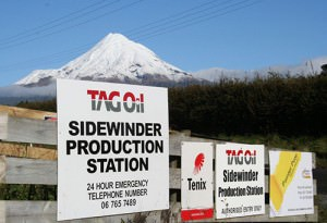 Sidewinder Production station entrance with beautiful Mt. Taranaki in the background.