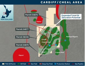 Cardiff Map Cheal Map - April 2015, TAG Oil