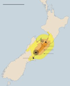 Epicenter and area where the quakes have been felt